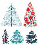 Collecton of stylized Christmas trees