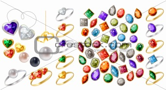 Big collection of different jewels