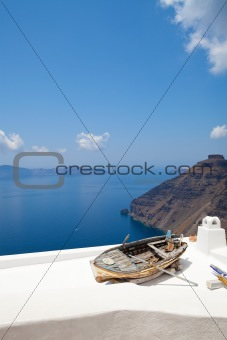 Old rowing boat in Thira, Santorini, Greece