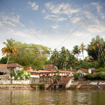 Ancient Hindu Janadhana Temple in Varkala, Kerala, India.