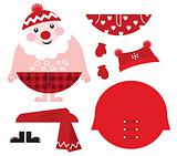 Dress up your Santa! Christmas retro icons &amp; design elements