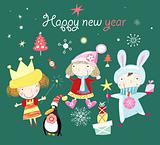 Greeting Card Christmas with children