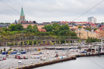 view on shipping terminal and old Sofia Church in Stockholm