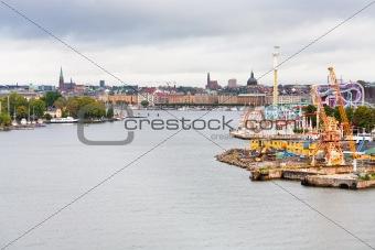 view on Tivoli Grona Lund and Beckholmen island Stockholm