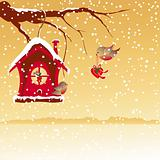 Christmas card robin bird send greeting