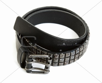 Black leather belt with steel buckle