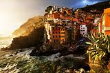 Falling night in Riomaggiore Village, Cinque Terre, Italy