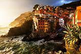 Falling night in Riomaggiore Village, Cinque Terre, Italy