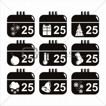 black christmas calendar icons