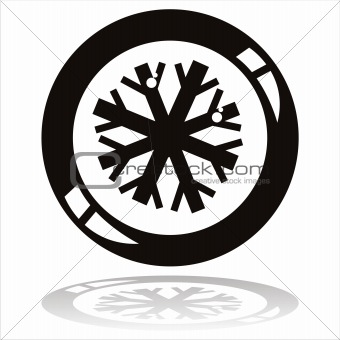 black snowflake button