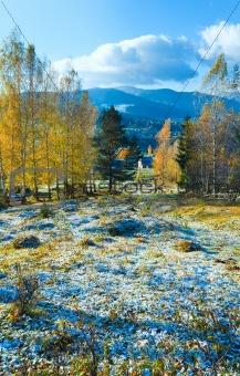 Autumn hoarfrost on mountain glade