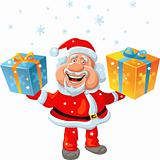 vector a happy Santa Claus holding a gift