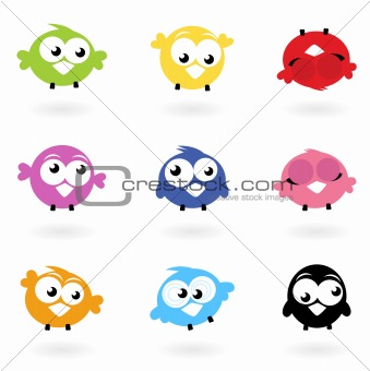 Cute color vector Twitter Birds icons collection isolated on whi