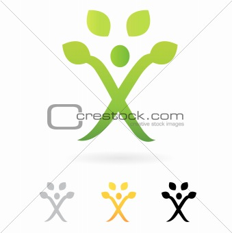 Business green Human Tree symbol isolated on white