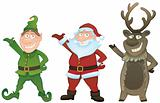 Vector set with Santa, Elf and Rudolph