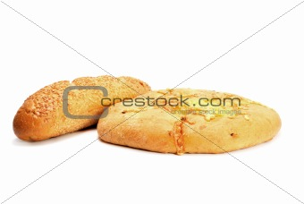 French baguette and Bread with cheese isolated on white