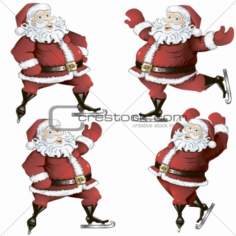A set of skating Santas.