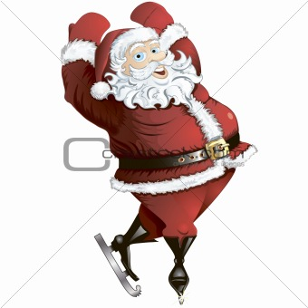 Skating Santa in pose isolated.