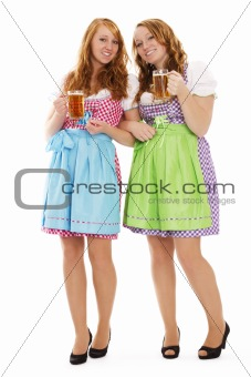two standing bavarian woman with beer