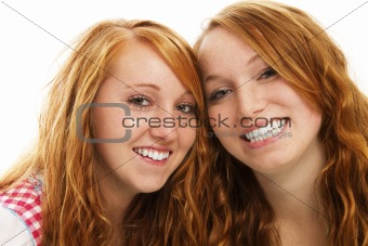 two happy bavarian redhead girls
