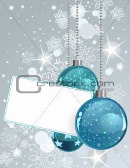 Blank  label with Christmas Balls