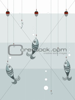 Fishes on the hooks