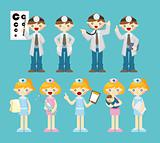 cartoon doctor and nurse icon