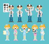 cartoon doctor and nurse icon