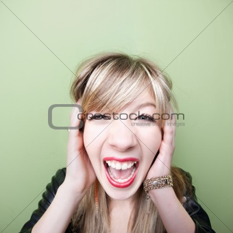 Woman Screams With Ears Covered