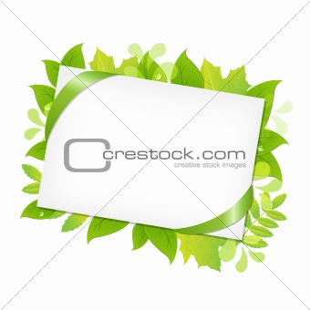 Green Leafs And Blank Gift Tag