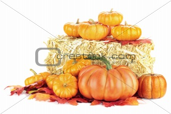 Pumpkins and Hay Bale