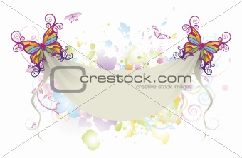 Abstract floral butterfly banner background