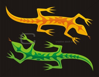 Green and orange lizards