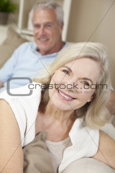 Happy Senior Man &amp; Woman Couple Smiling at Home