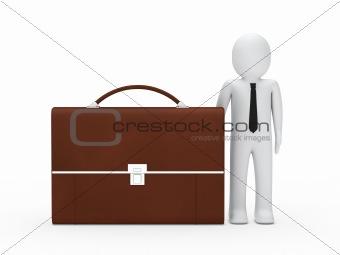 business man big briefcase brown