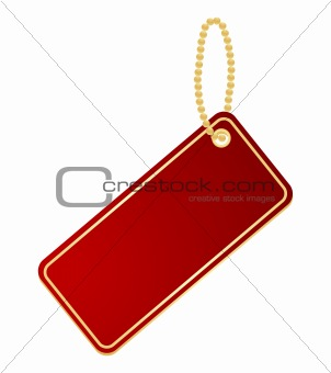 Red label on a chain