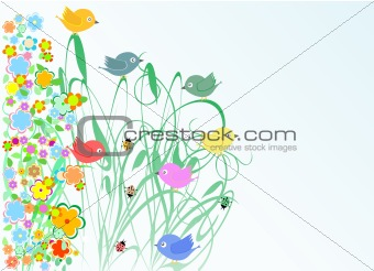 cute flowers and bird holidays greeting card autumn vector