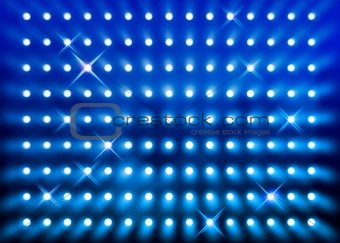 Sparkling blue spotlight wall