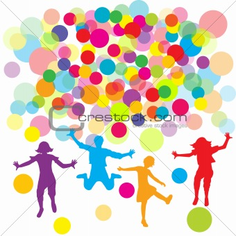 Background with children silhouettes and circles