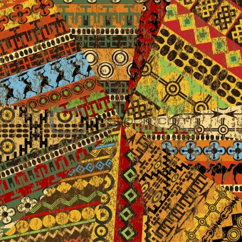 Grunge collage of sample with ethnic motifs