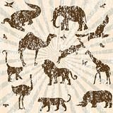 Retro grunge background with animals silhouettes