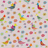 Seamless pattern with birds and flowers, for kids