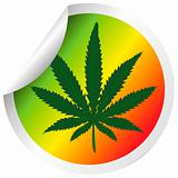 Sticker with marijuana leaf