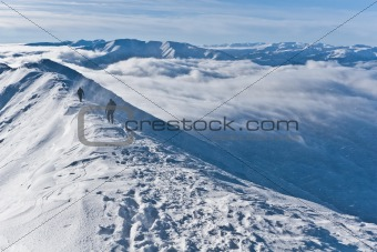 a blizzard on the mountain top