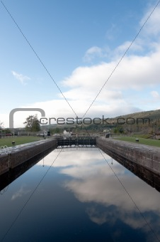 Fort Augustus Locks with reflection of the sky