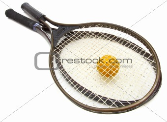 A tennis ball and racket on a white background