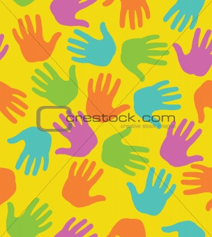 seamless pattern with colored hand prints