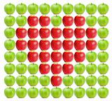 Green wet apples with red apples in between