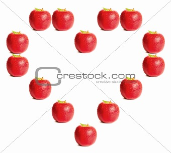 Red apples shaping a heart