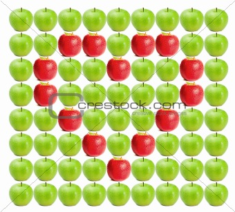 Green wet apples with red apples in heart shape in between